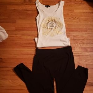 White Express tank top with black leggings